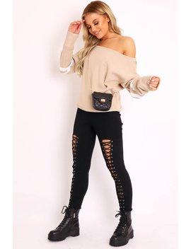 Beige Stripe Off Shoulder Knit Jumper   Fifi by Rebellious Fashion