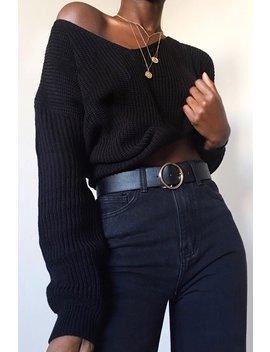 Black Knit Plunge Neckline Jumper   Roselie by Rebellious Fashion
