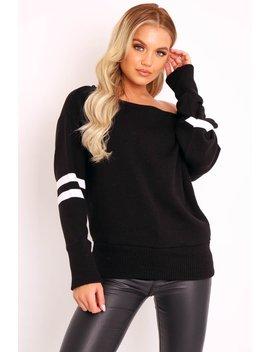Black Stripe Off Shoulder Knit Jumper   Fifi by Rebellious Fashion