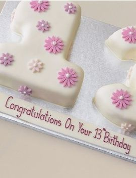Personalised Flowers Numbers Sponge Cake   Double Digit (Serves 40) by Marks & Spencer