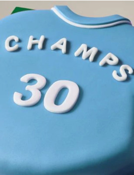 Personalised Blue & White Sports Shirt Cake (Serves 30) by Marks & Spencer