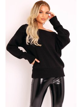 Black Off Shoulder Knit Jumper   Brithany by Rebellious Fashion
