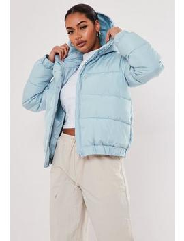 Blue Hooded Puffer Jacket by Missguided