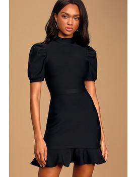 What A Doll Black Puff Sleeve Ruffled Bodycon Mini Dress by Lulus