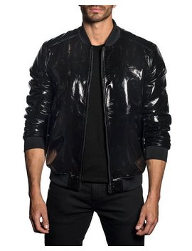Jared Lang Mens Patent Faux Leather Bomber Jacket by Jared Lang