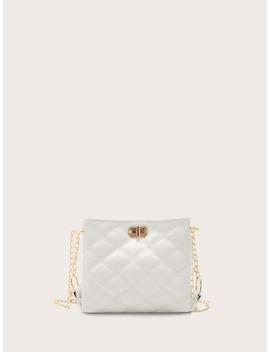 Girls Twist Lock Quilted Chain Bag by Shein