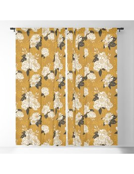 Glam Florals   Gold Blackout Curtain by Society6