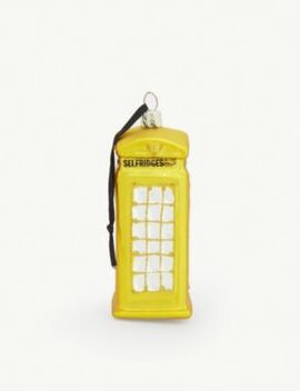 Selfridges Phone Box Glass Christmas Decoration 10cm by Christmas