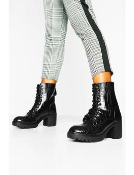 Croc Lace Up Heeled Hiker Boots by Boohoo