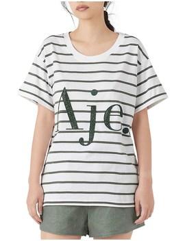 Paperbark Stripe Logo Tee by Aje