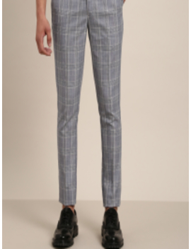 Men Grey & Blue Slim Fit Checked Regular Trousers by Invictus