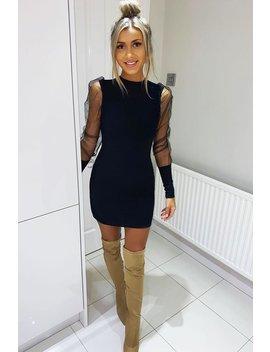 Black Fishnet Puff Sleeve Mini Dress   Franca by Rebellious Fashion