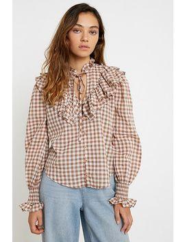 """Uo – Gerüschte Bluse Mit Durchgehender Knopfleiste """"Mc Kenzie"""" by Urban Outfitters Shoppen"""