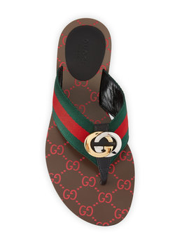 Kika Web Thong Sandals by Gucci