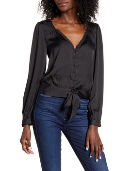 Isadora Tie Front Satin Blouse by Paige