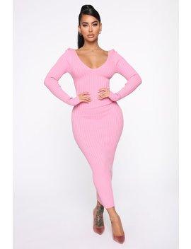 Kallan Knit Dress   Pink by Fashion Nova