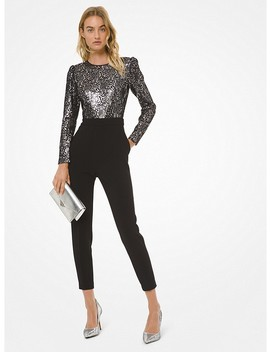 Sequined Lace Tuxedo Jumpsuit by Michael Michael Kors