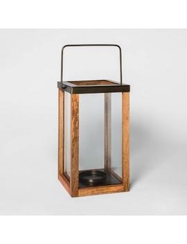 Wooden Pillar Candle Holder Lantern Brown   Threshold™ by Threshold
