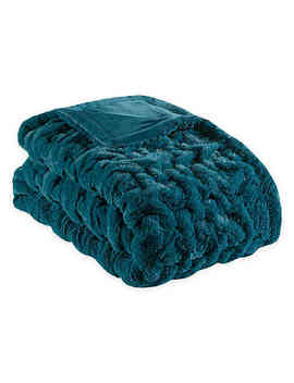 Madison Park Ruched Faux Fur Throw Blanket In Teal by Bed Bath And Beyond