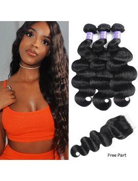 Nadula Brazilian Human Hair Body Wave 3 Hair Bundles With 4x4 Lace Closure Black by Ebay Seller