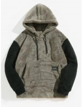 Popular Color Blocking Pouch Pocket Fluffy Hoodie   Battleship Gray M by Zaful