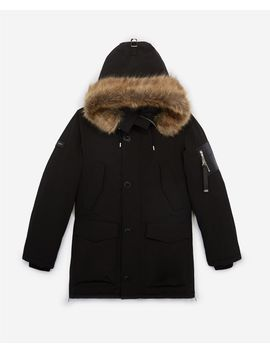 Long Black Polyester Parka With Hood by The Kooples