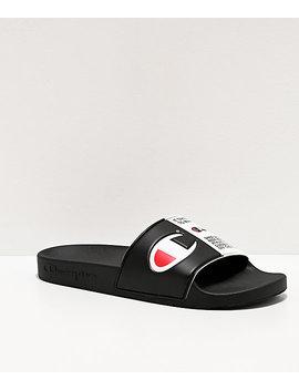 Champion Men's Ipo Jock Black & White Slide Sandals by Champion