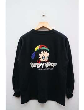 Vintage Betty Boop Alle Amerikaanse Meisje Grote Spell Grote Logo Zwarte Pullover Trui Sweatshirt by Etsy