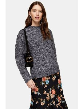 Black And White Vertical Cable Crew Jumper by Topshop