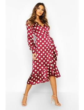 Woven Spot Wrap Ruffle Midi Dress by Boohoo