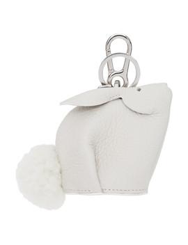 Off White Bunny Charm Keychain by Loewe