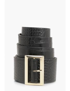 Gold Square Buckle Croc Detail Waist Belt by Boohoo