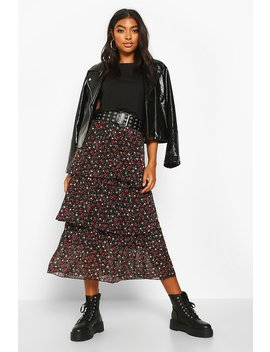 Tall Ditsy Floral Layered Midaxi Skirt by Boohoo