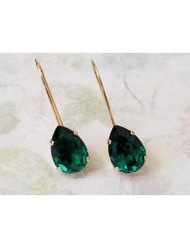 Emerald Teardrop Earrings Bridesmaids Jewelry Gift Emerald Green Crystal Earrings Crystal Rhinestone Earrings Swarovski Drop Earrings by Etsy
