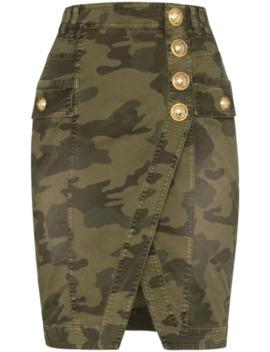 Camouflage Wrap Denim Mini Skirt by Balmain