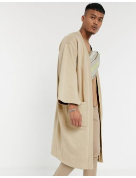 Asos Design Kimono Cardigan In Washed Stone by Asos Design