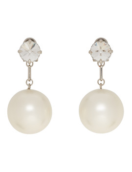 Silver Crystal & Pearl Earrings by Miu Miu
