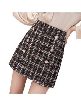 Autumn Winter Mini Tweed Skirt Women Sexy Plaid Skirts Ladies Fashion Korean High Waist Double Breasted Skirt by Ali Express.Com