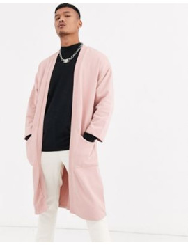 Asos Design Longline Jersey Kimono In Light Pink by Asos Design