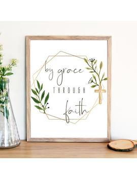 Bible Verse Printable Wall Art By Grace Through Faith, Christian Bible Verse Decor, Religious Decor, Religious Gift, Christian Gift by Etsy