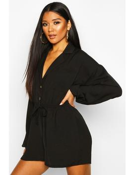 Button Drawstring Playsuit by Boohoo