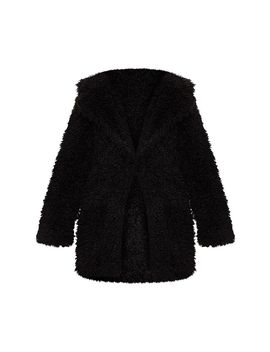 Black Teddy Faux Fur Coat  by Prettylittlething
