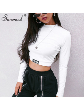 Simenual Fashion Autumn 2018 Female T Shirt Crop Top Letter Print White Tshirt Slim Sexy Turtleneck Long Sleeve T Shirts Women by Ali Express.Com