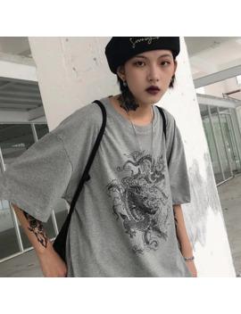 Women T Shirt Dragon Casual Print Loose Dropshipping Tops Shirt Vintage Gothic Stranger Things Mesh Top Harajuku Clothes Print by Ali Express.Com