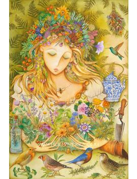 Herbal Goddess   A Fine Art Greeting Card by Etsy