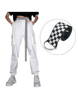 Canvas Board Belt Ladies Casual Plaid Checkerboard Canvas Belt Casual Checkered New Fashion Belt 135 Cm Black White Plaid Belt by Ali Express.Com