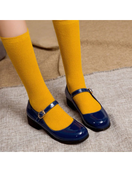Pxelena Británico Retro Charol Mujeres Mary Janos Zapatos De Tacón Bajo 2020 Primavera Otoño Señoras Bombas Cosplay Lolita Azul Rojo 43 by Ali Express.Com