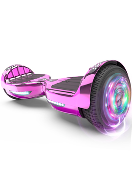 "Flash Wheel Certified Hoverboard 6.5"" Bluetooth Speaker With Led Light Self Balancing Wheel Electric Scooter   Chrome Pink by Hoverheart"
