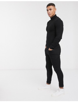 Asos Design Muscle Fit Roll Neck Irregular Ribbed Jumper In Black by Asos Design