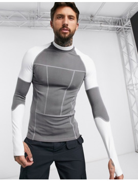 Asos Design Muscle Long Sleeve T Shirt With Stretch And Turtle Neck In Scuba Fabric In Grey by Asos Design
